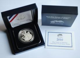 "США 1 доллар 2010 г., PROOF, ""100 лет бойскаутам Америки"""