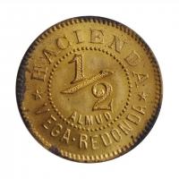 """Пуэрто-Рико 1/2 алмуда ND-1890 г., UNC, """"Пуэрто-Рико - Плантационные Токены"""""""