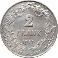 """Бельгия 2 франка 1911 г. DER, UNC, """"Король Альберт I (1910 - 1934)"""""""