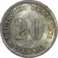 """Германия 20 пфеннигов 1876 г. D, PCGS MS64, """"Германская Империя (1871 - 1922)"""""""