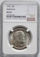 США 50 центов 1936 г., NGC MS63, '100 лет штату Арканзас, Джозеф Тейлор Робинсон'