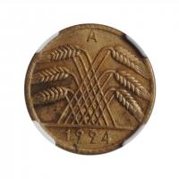 """Германия 10 рентенпфеннигов 1924 A, NGC MS62, """"Веймарская Республика (Рентенмарка) (1923 - 1929)"""""""