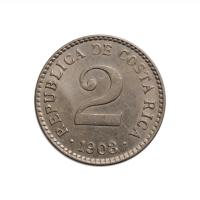 """Коста-Рика 2 сентимо 1903 г., AU, """"Республика Коста-Рика (1896 - 1950)"""""""