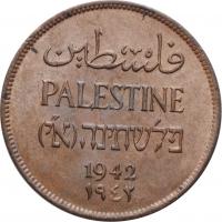 """Палестина 2 миля 1942 г., UNC, """"Британский мандат (1927 - 1948)"""""""