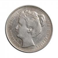 """Нидерланды 25 центов 1901 г., AU, """"Королева Вильгельмина (1890 - 1948)"""""""