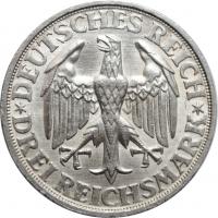 """Веймарская Республика 3 рейхсмарки 1928 г. D, UNC, """"1000 лет Динкельсбюлю"""""""