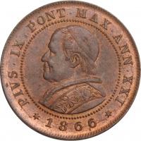 """Папская область 2 сольдо 1866 г. R,  BU, """"Папа Пий IX (1846 - 1878)"""""""
