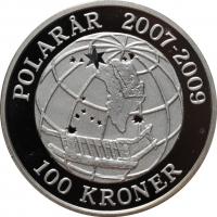 """Дания 100 крон 2008 г., PROOF, """"Международный полярный год - Сириус"""""""