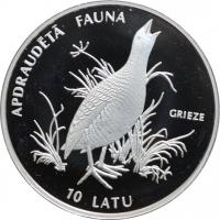 """Латвия 10 латов 1996 г., PROOF, """"Исчезающие животные - Коростель"""""""