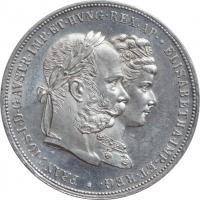 """Австрия 2 флорина 1879 г., BU, """"Годовщина серебряной свадьбы"""""""