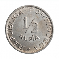 """Индия - Португальская 1/2 рупии 1947 г., UNC, """"Администрация Португалии до 1961 года"""""""