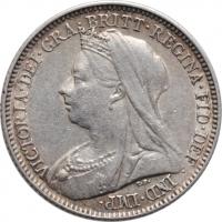 """Великобритания 6 пенсов 1899 г., XF, """"Королева Виктория (1838 - 1901)"""""""