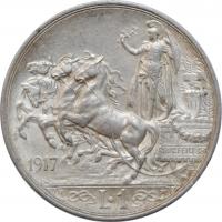 """Италия 1 лира 1917 г. R, UNC, """"Король Виктор Эммануил III (1900 - 1946)"""""""