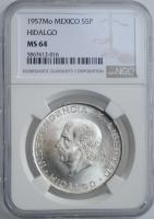 """Мексика 5 песо 1957 г., NGC MS64, """"Национальный герой Мигель Идальго-и-Костилья"""""""