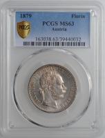 """Австрия 1 флорин 1879 г., PCGS MS63, """"Император Франц Иосиф I (1848 - 1916)"""""""
