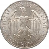 """Веймарская Республика 3 рейхсмарки 1930 г. A, UNC, """"Полёт дирижабля """"Граф Цеппелин"""""""