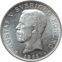 """Швеция 1 крона 1933 г. G, BU, """"Король Густав V (1908 - 1950)"""""""