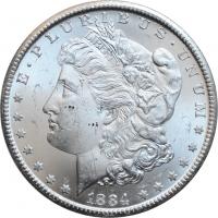 "США 1 доллар 1884 г. CC, BU, ""Доллар Моргана"""