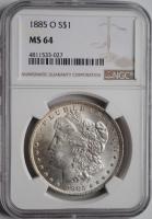 США 1 доллар 1885 г. O, NGC MS64, 'Доллар Моргана'