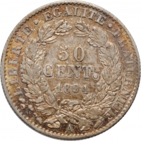 "Франция 50 сантимов 1894 г. A, UNC, ""Третья Республика (1870 - 1941)"""