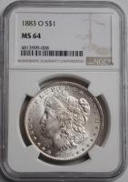 США 1 доллар 1883 г. O, NGC MS64, 'Доллар Моргана'