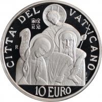 """Ватикан 10 евро 2008 г., PROOF, """"41-й Международный день мира"""""""