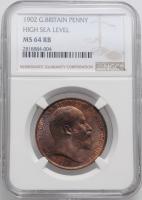 """Великобритания 1 пенни 1902 г., NGC MS64 RB, """"Король Эдуард VII (1902 - 1910)"""""""