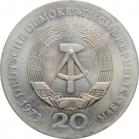 "ГДР 20 марок 1973 г., UNC, ""60 лет со дня смерти Августа Бебеля"""
