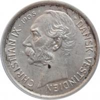 """Датская Вест-Индия 10 центов 1905 г., ANACS MS61, """"Король Кристиан IX (1873 - 1906)"""""""