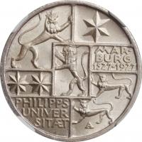"""Веймар 3 рейхсмарки 1927 г., NGC MS64, """"400 лет Марбургскому университету имени Филиппа"""""""