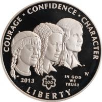 """США 1 доллар 2013 г., PROOF, """"100 лет движению девочек-скаутов в США"""""""