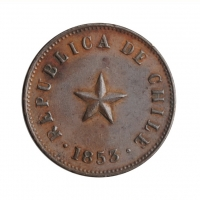 "Чили 1/2 сентаво 1853 г., XF, ""Республика Чили (1851 - 1898)"""