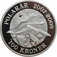 """Дания 100 крон 2009 г., PROOF, """"Международный полярный год - Северное сияние"""""""
