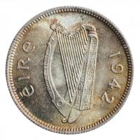 """Ирландия 1 шиллинг 1942 г., UNC, """"Республика Ирландия (Éire) (1939 - 1969)"""""""
