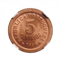 """Кабо-Верде 5 сентаво 1930 г., NGC MS64 RD, """"Португальская колония (1914 - 1974)"""""""