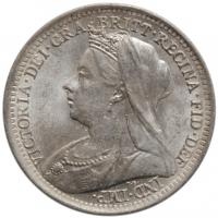 """Великобритания 3 пенса 1900 г., UNC, """"Королева Виктория (1838 - 1901)"""""""