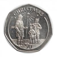 """Гибралтар 50 пенсов 1991 г., UNC, """"Рождество"""""""