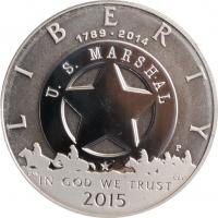 """США 1 доллар 2015 г., PROOF, """"225 лет Службе маршалов США"""""""