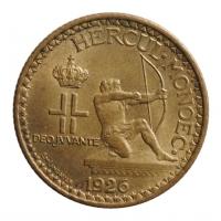 """Монако 2 франка 1926 г., UNC, """"Принц Луи II (1922 - 1949)"""""""