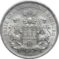 "Гамбург 3 марки 1911 г., UNC, ""Вольный город Гамбург (1871 - 1918)"""