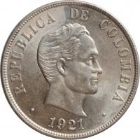 "Колумбия 50 сентаво 1921 г. P, UNC, ""Президент Симон Боливар (1819 - 1830)"""