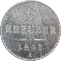"""Австрия 6 крейцеров 1848 г. A, UNC, """"Австрийская Империя (1806 - 1857)"""""""