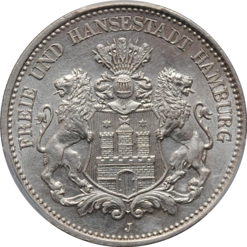 "Гамбург 2 марки 1900 г., UNC, ""Вольный город Гамбург (1871 - 1918)"""