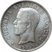 """Швеция 1 крона 1932 г. G, BU, """"Король Густав V (1908 - 1950)"""""""