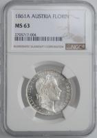 """Австрия 1 флорин 1861 г. A, NGC MS63, """"Император Франц Иосиф (1848 - 1916)"""""""