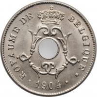 """Бельгия 10 сантимов 1904 г., BU BELGIQUE, """"Король Леопольд II (1865 - 1909)"""""""