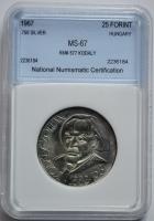 Венгрия 25 форинтов 1967 г., NNC MS-67, '85 лет со дня рождения Золтана Кодая'