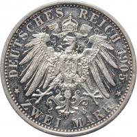 "Шварцбург-Зондерсгаузен 2 марки 1905 г., AU, ""25 лет правлению Карла Гюнтера"""