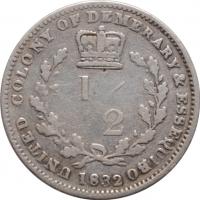 """Демерара и Эссекибо 1/2 гульдена 1832, VF, """"Колония Великобритании (1808 - 1835)"""""""