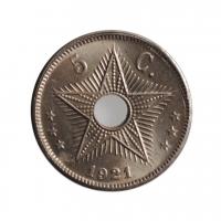 """Бельгийское Конго 5 сантимов 1921 г., BU, """"Колония Бельгии (1909 - 1949)"""""""
